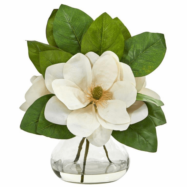 "18"" Magnolia Artificial Arrangement in Glass Vase"