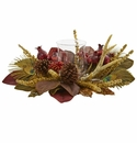 Magnolia, Berry, Antler and Peacock Feather Artificial Candelabrum Arrangement - N/A