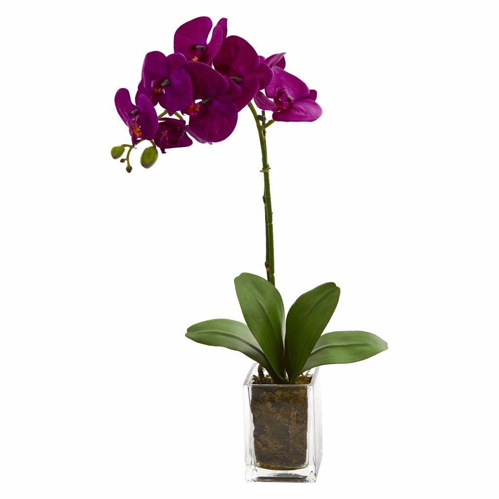 24� Mauve Orchid Phalaenopsis Artificial Arrangement in Vase