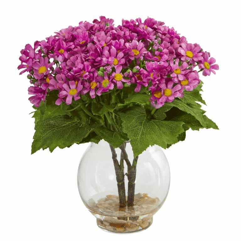 "10"" Mauve Daisy Artificial Arrangement in Fluted Vase"
