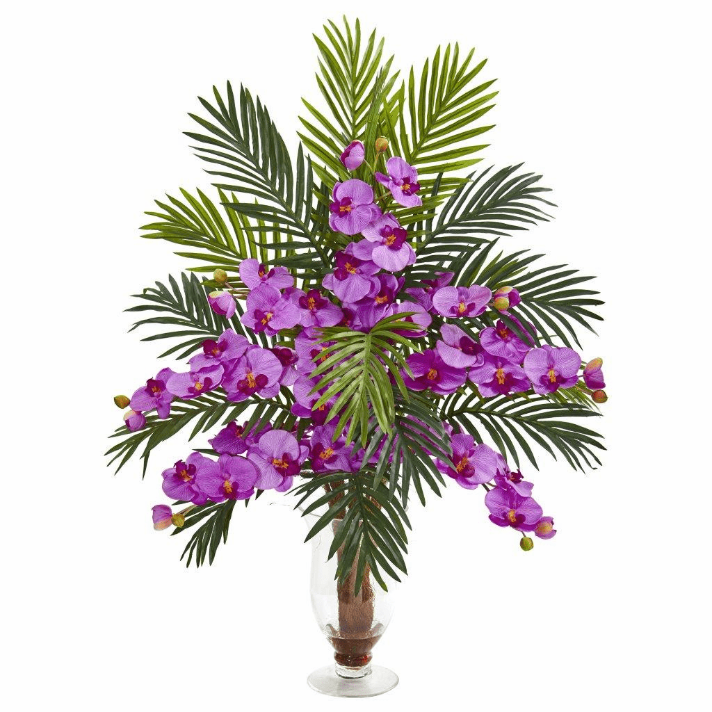 "30"" Mauve Phalaenopsis Orchid and Areca Palm Artificial Arrangement"