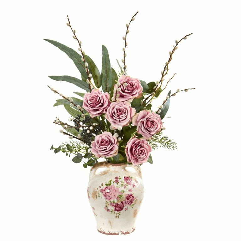 Mauve Rose, Eucalyptus and Pussy Willow Artificial Arrangement in Floral Print Vase