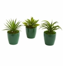 "8"" Mini Agaves Artificial Plant in Green Planter (Set of 3)"