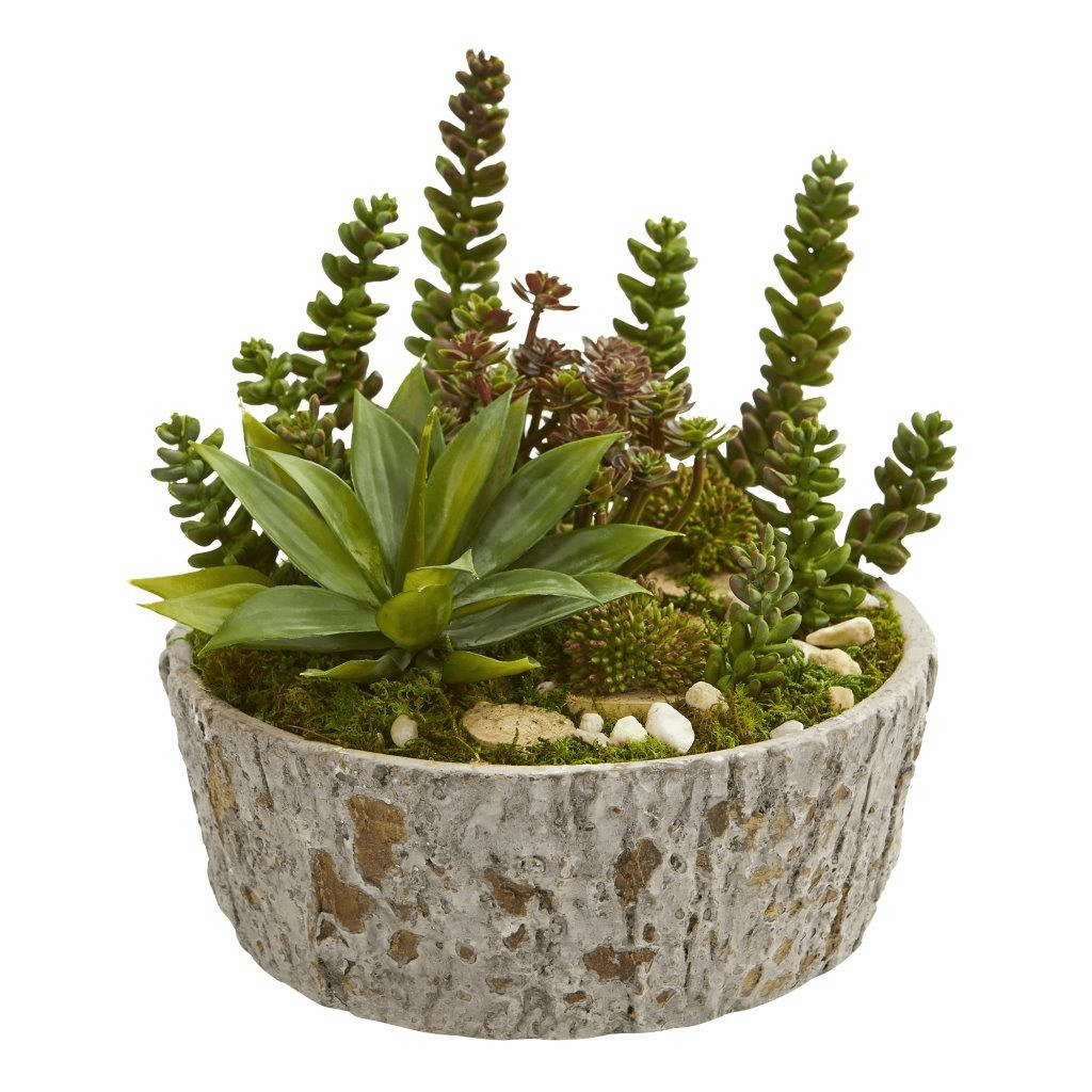 "9"" Mini Succulent Garden Artificial Plant in Weathered Oak Planter"