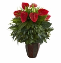 """30"""" Mixed Anthurium Artificial Plant in Decorative Planter - Green"""