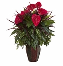 Mixed Anthurium Artificial Plant in Decorative Planter - Red