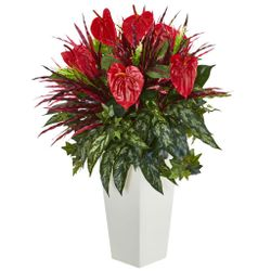 """33"""" Mixed Anthurium Artificial Plant in White Tower Vase"""