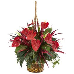 "24"" Mixed Anthurium Hanging Basket Artificial Plant"
