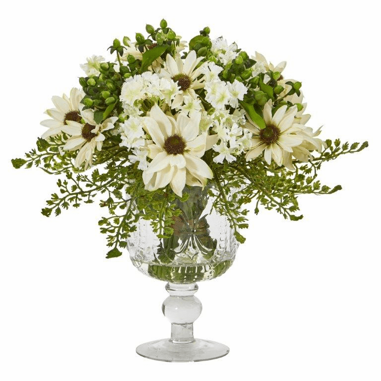 "13"" Mixed Daisy Artificial Arrangement in Royal Glass Urn - Cream"