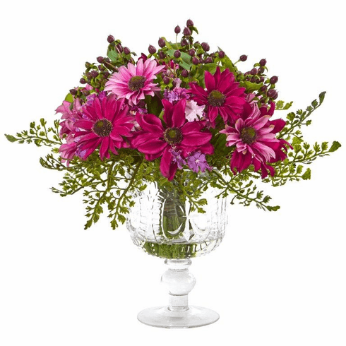 "13"" Mixed Daisy Artificial Arrangement in Royal Glass Urn - Pink"