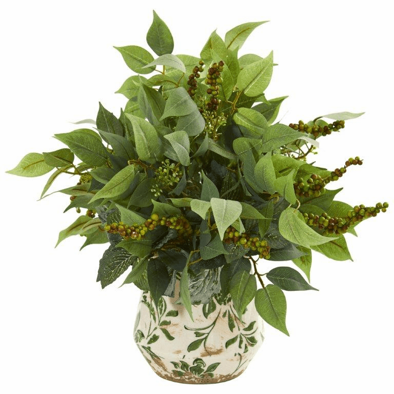 """13"""" Mixed Ficus, Fittonia and Berries Artificial Plant in Floral Vase"""
