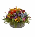 Mixed Floral Artificial Arrangement in Stone Planter - N/A