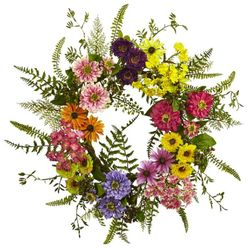 """22"""" Mixed Artificial Flower Wreath - Multi Color"""