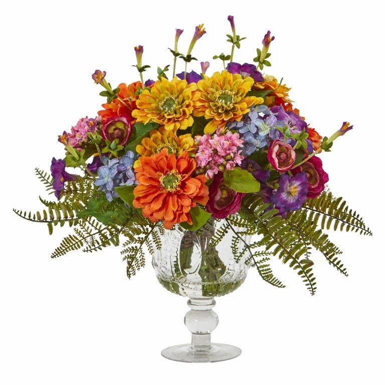 "14"" Mixed Flowers Artificial Arrangement in Royal Vase"