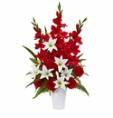 Mixed Flowers Artificial Arrangement in White Vase - Red