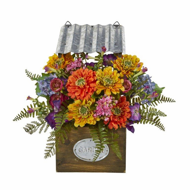 """14"""" Mixed Flowers Artificial Plant in Tin Roof Planter"""