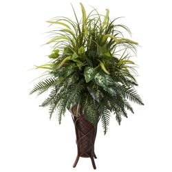 """50"""" Mixed Greens & Cattails with Decorative Stand Planter"""