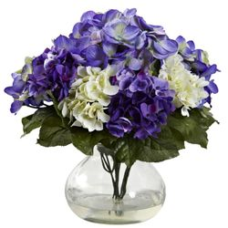 """11"""" Artificial Flower Mixed Hydrangea with Vase"""