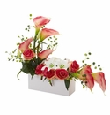 Mixed Lily and Rose Artificial Arrangement - Pink