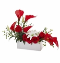 Mixed Lily and Rose Artificial Arrangement - Red