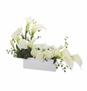 Mixed Lily and Rose Artificial Arrangement - White