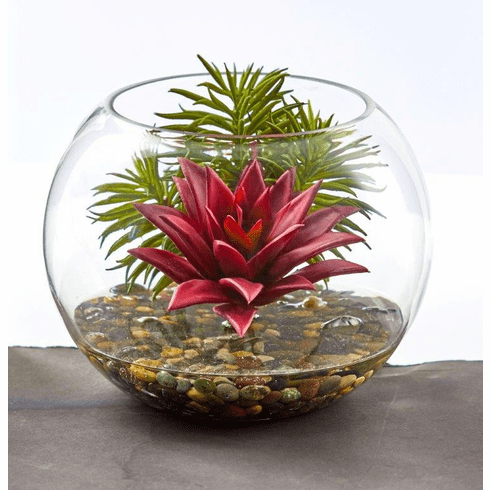 "6"" Mixed Succulent Artificial Plant in Round Glass Vase"