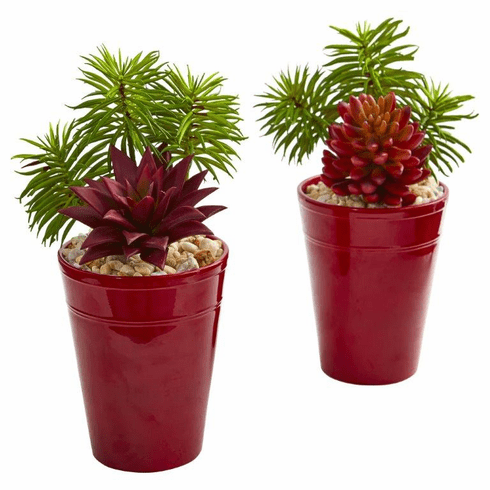 Mixed Succulents Artificial Plant in Burgundy Vase (Set of 2)