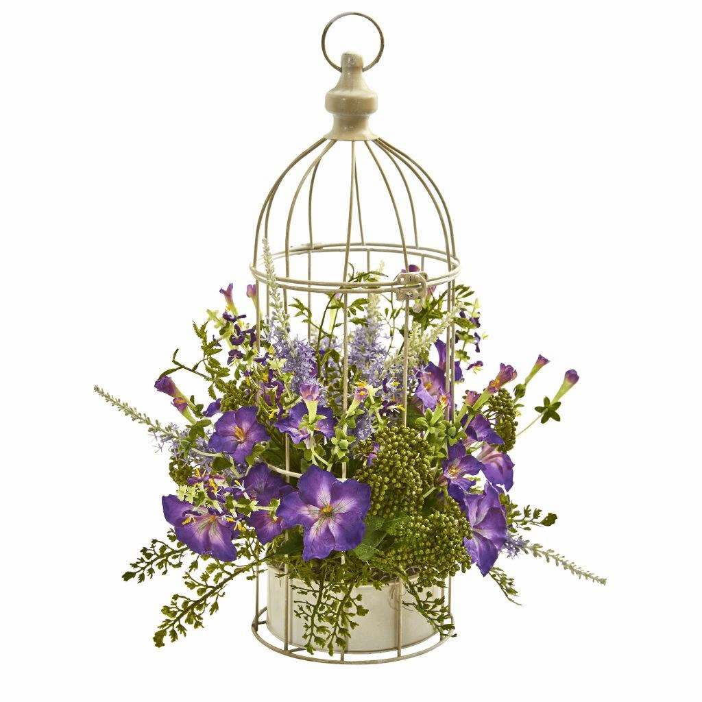 "19"" Morning Glory Artificial Arrangement in Decorative Bird Cage"