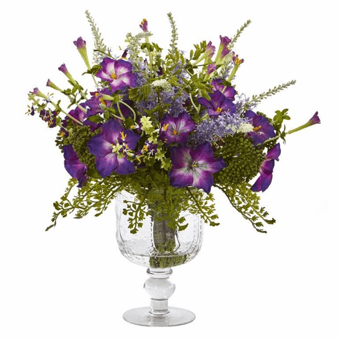 "15"" Morning Glory Artificial Arrangement in Royal Glass Urn"