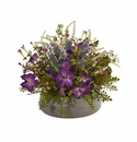 Morning Glory Artificial Arrangement in Stone Planter - N/A