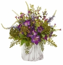 Morning Glory Artificial Plant in Marble Finished Vase - N/A
