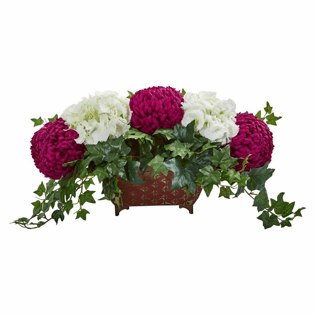 "38"" Mum & Hydrangea Artificial Arrangement in Metal Planter"