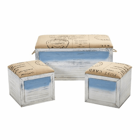 Ocean Breeze Storage Boxes, Bench and Seating Set (Set of 3) -