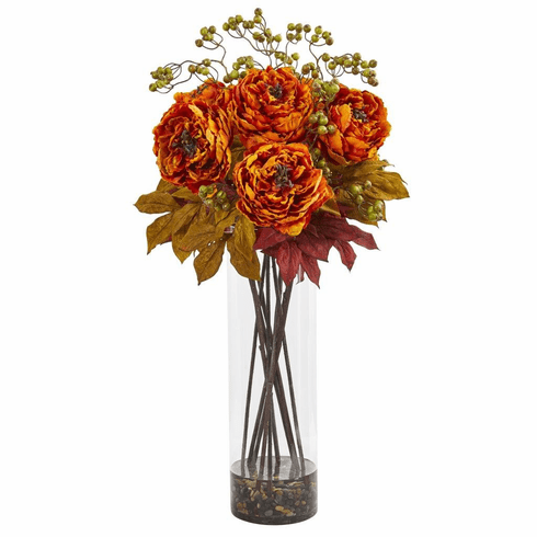 "36"" Orange Peony and Berries Artificial Arrangement in Large Cylinder Vase"