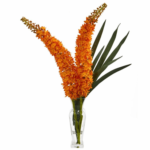 "27"" Orange Fox Tail Artificial Arrangement in Glass Vase"