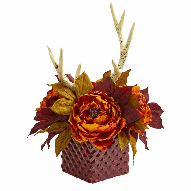 "17"" Orange Peony and Antlers Artificial Arrangement in Red Vase"