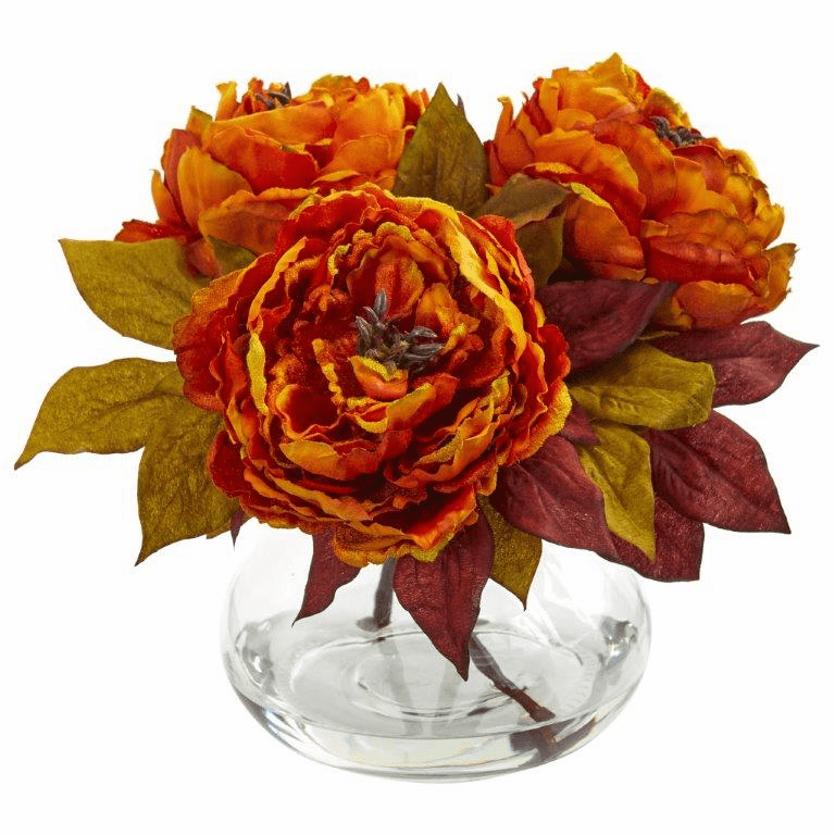 "10"" Orange Peony Artificial Arrangement"