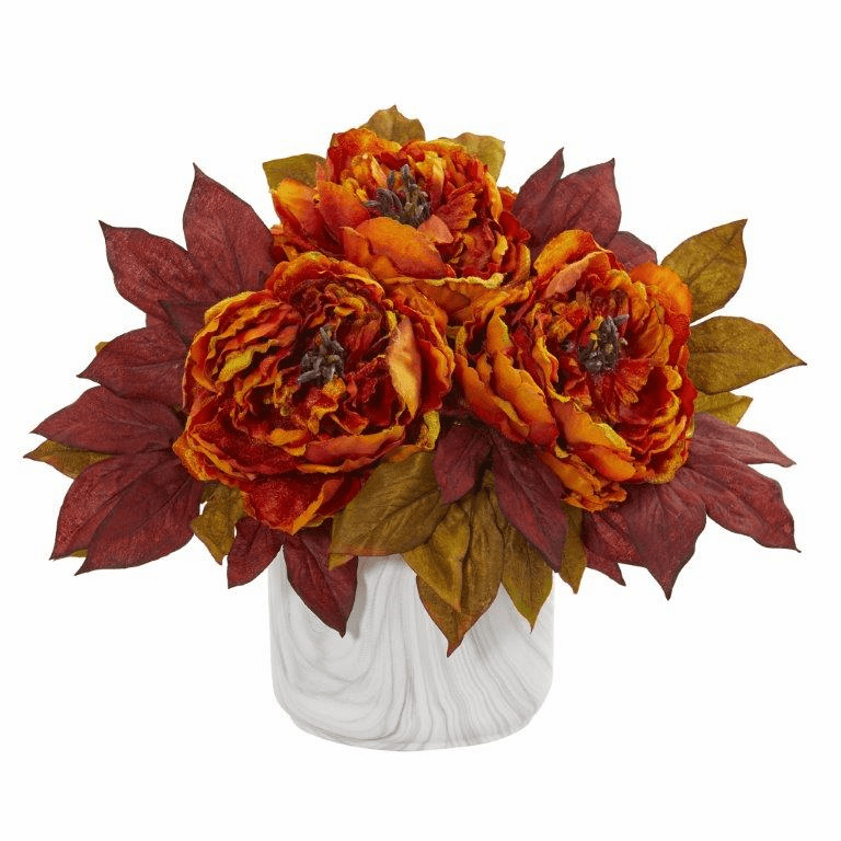 "12"" Orange Peony Artificial Arrangement in Marble Finished Vase"