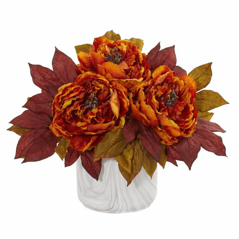 Orange Peony Artificial Arrangement in Marble Finished Vase