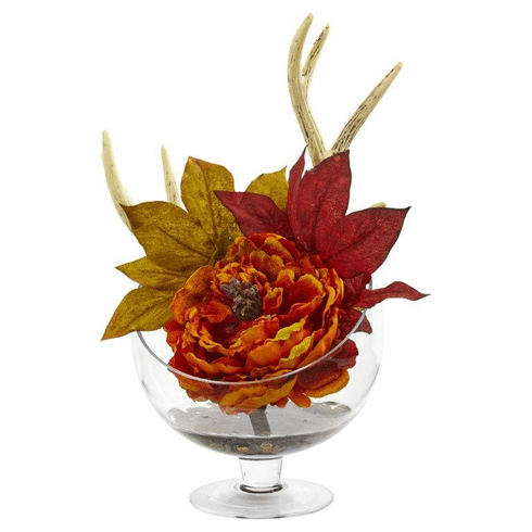 Orange Peony Artificial Arrangement in Pedestal Glass Vase