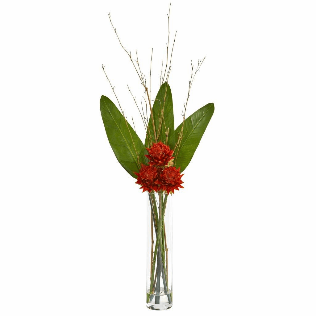 3.5� Orange Red Tropical Artificial Arrangement in Cylinder Vase