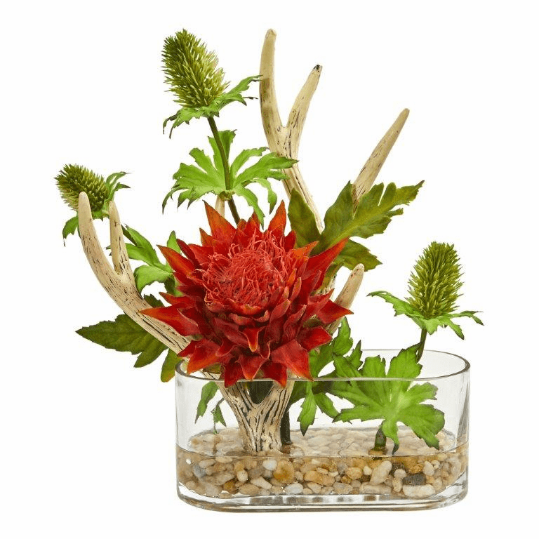 "10"" Orange Red Tropical Flower and Antlers Artificial Arrangement"