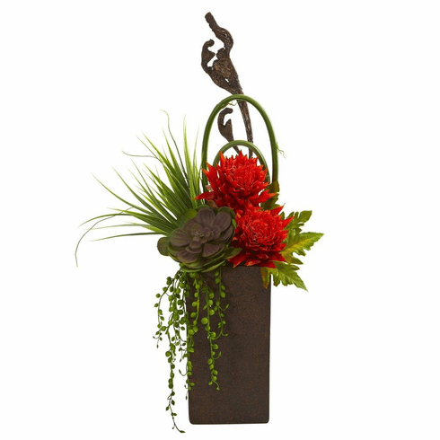 "25"" Orange Red Tropical & Succulent Artificial Arrangement in Brown Vase"