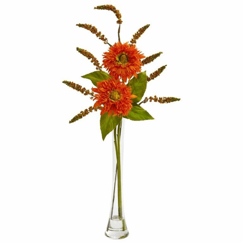 Orange Sunflower & Berry Artificial Arrangement