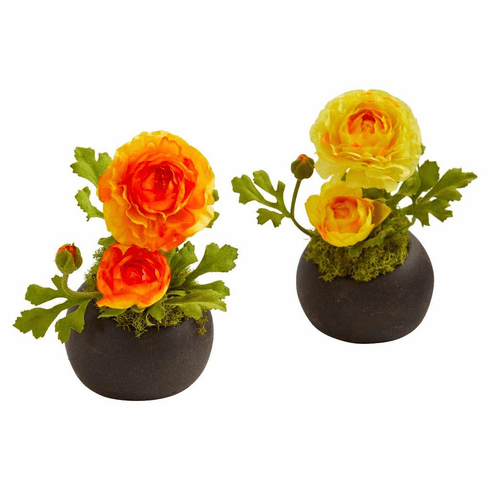 "8"" Orange Yellow Ranunculus Artificial Arrangement (Set of 2)"