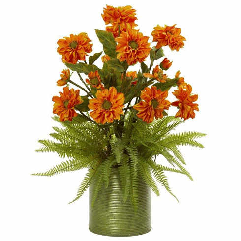 Orange Zinnia and Fern Artificial Arrangement in Metal Planter