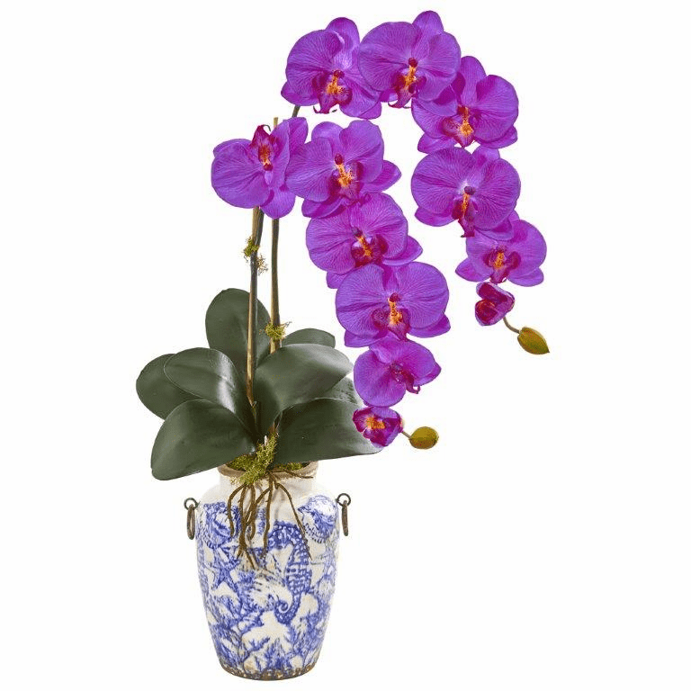 31� Phalaenopsis Orchid Artificial Arrangement in Weathered Ocean Vase