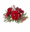 """6"""" Artificial Orchid, Berry & Pine Holiday Candleabrum"""