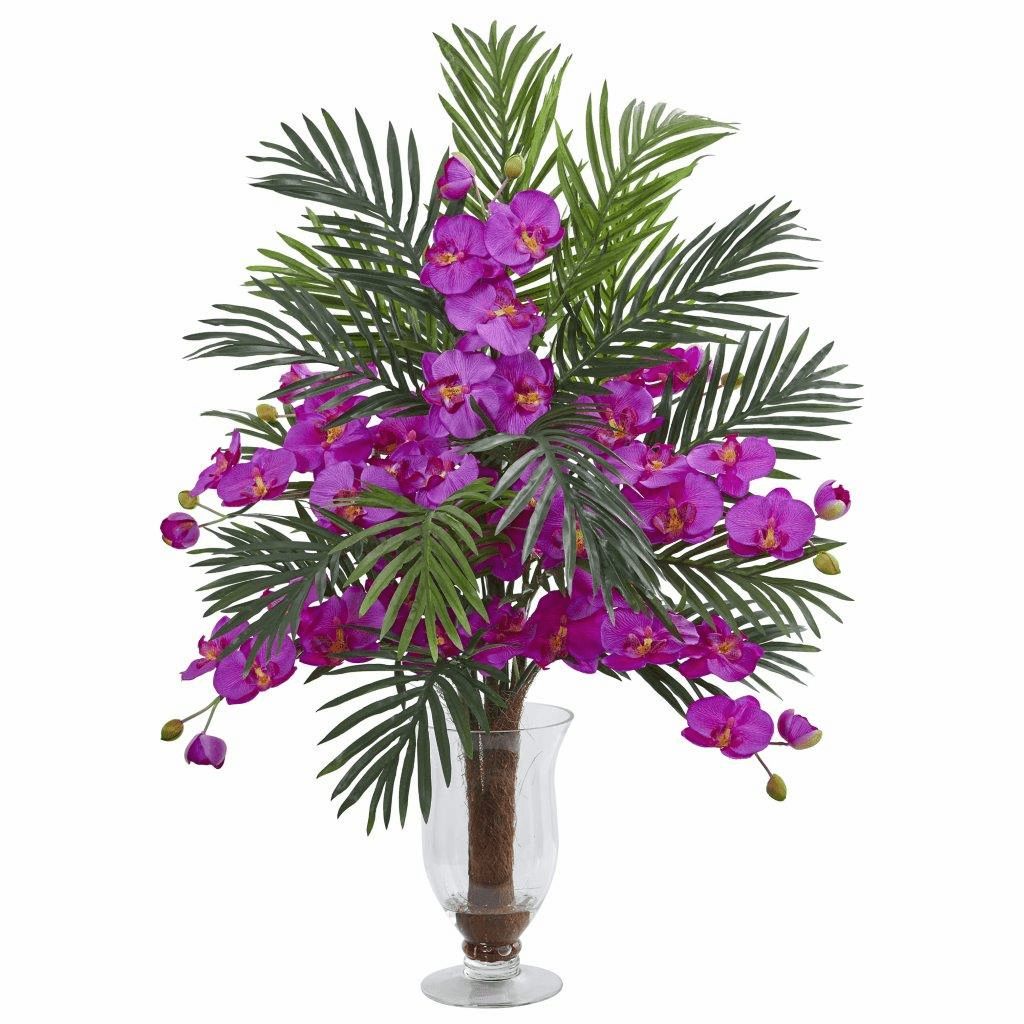 "30"" Orchid Phalaenopsis Orchid and Areca Palm Artificial Arrangement"