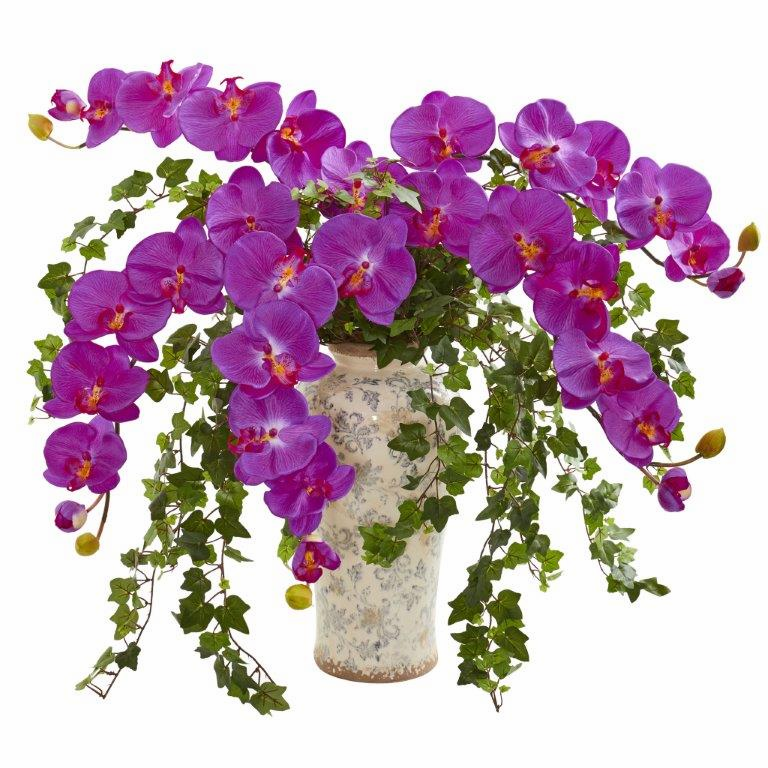"26"" Orchid Phalaenopsis Orchid and Ivy Artificial Arrangement  in Urn"